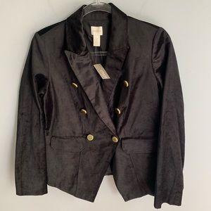 Chico's Black Military Velvet Blazer